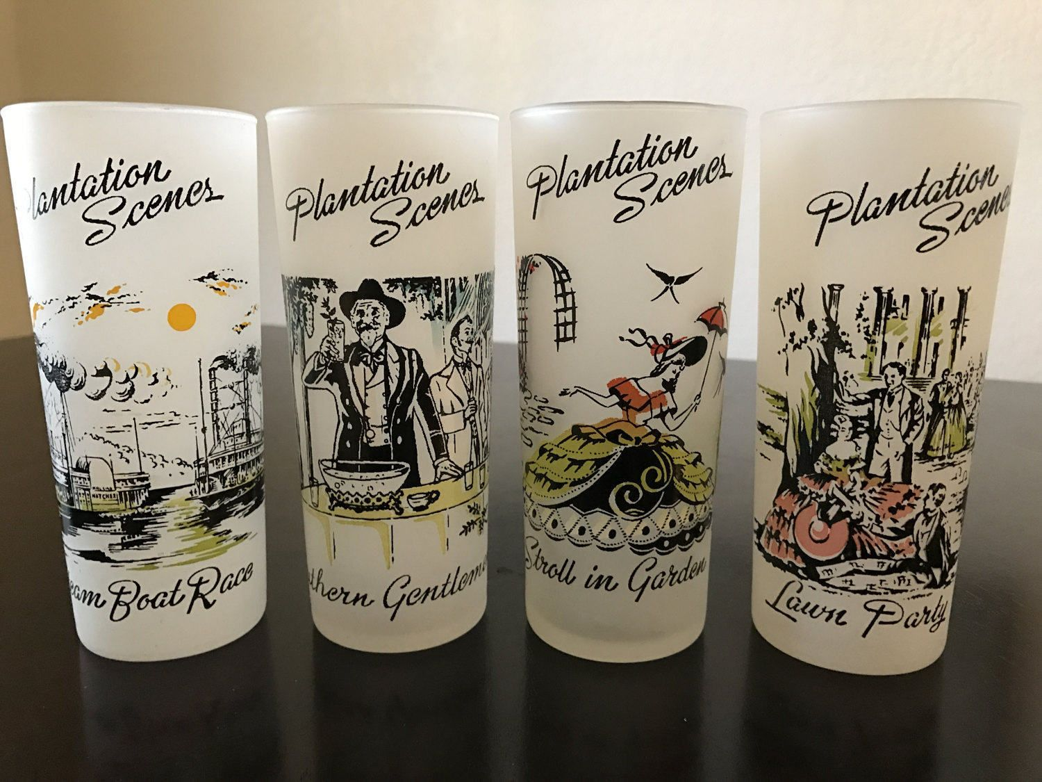 """1950s Libbey """"Plantation Scenes"""" Frosted Drinking Glasses ..."""
