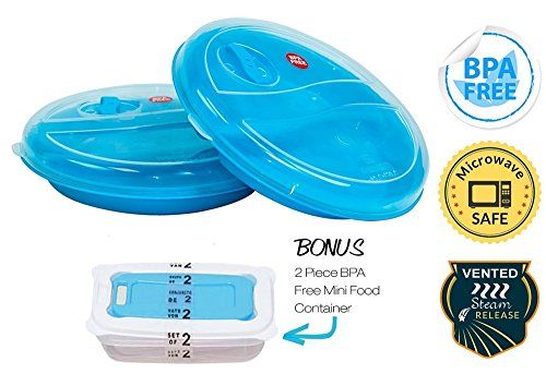 Microwave Plates with Lids - No BPA - Set of 2 - Vented Lid 2 Divided Compartments Dishwasher Safe - Bonus 2 No BPA Vented Mini Microwave Containers - ...  sc 1 st  Pinterest & Microwave Plates With Lids - No Bpa - Set Of 2 - Vented Lid 2 ...