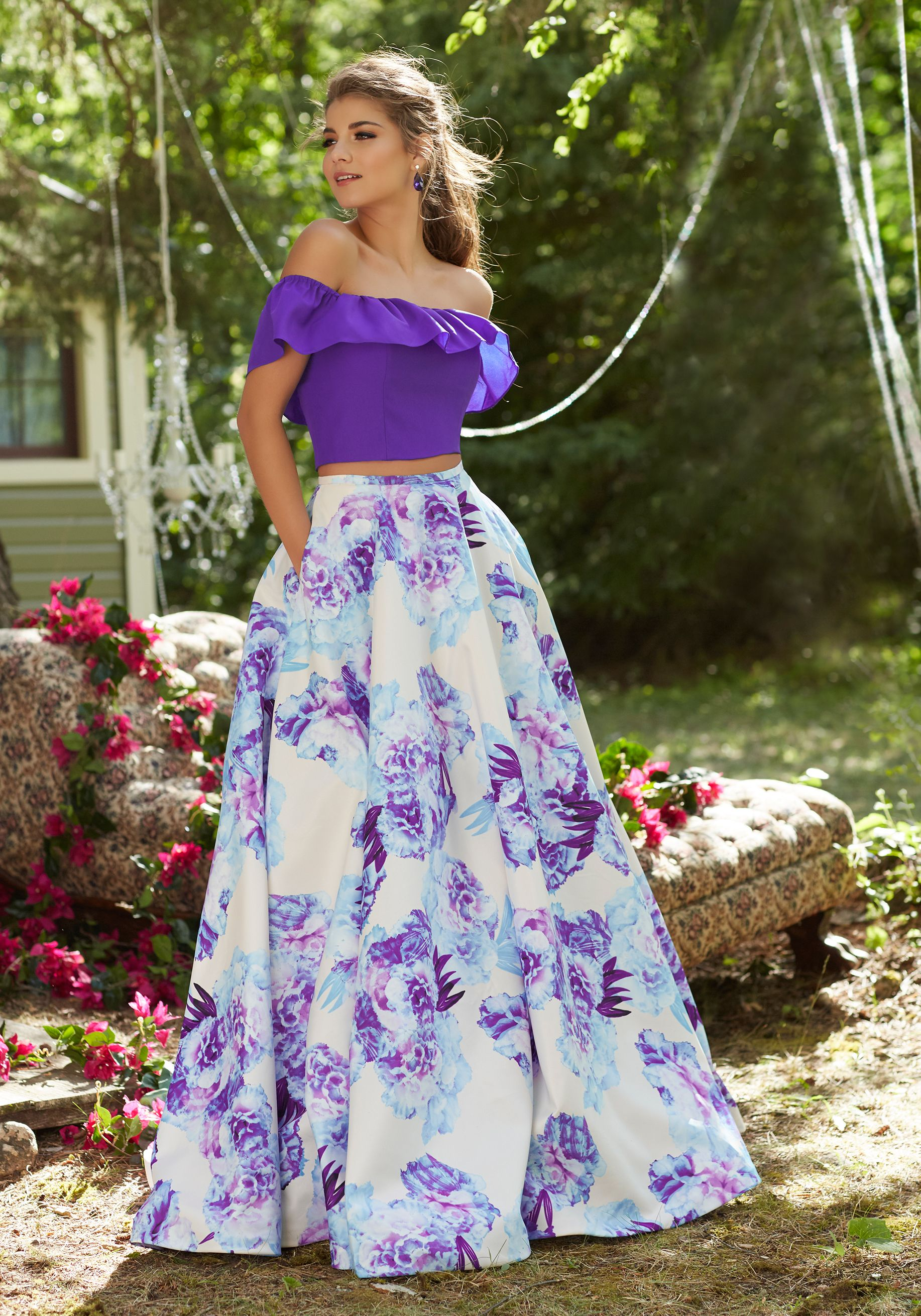 Twopiece prom dress with offtheshoulder neckline and floral
