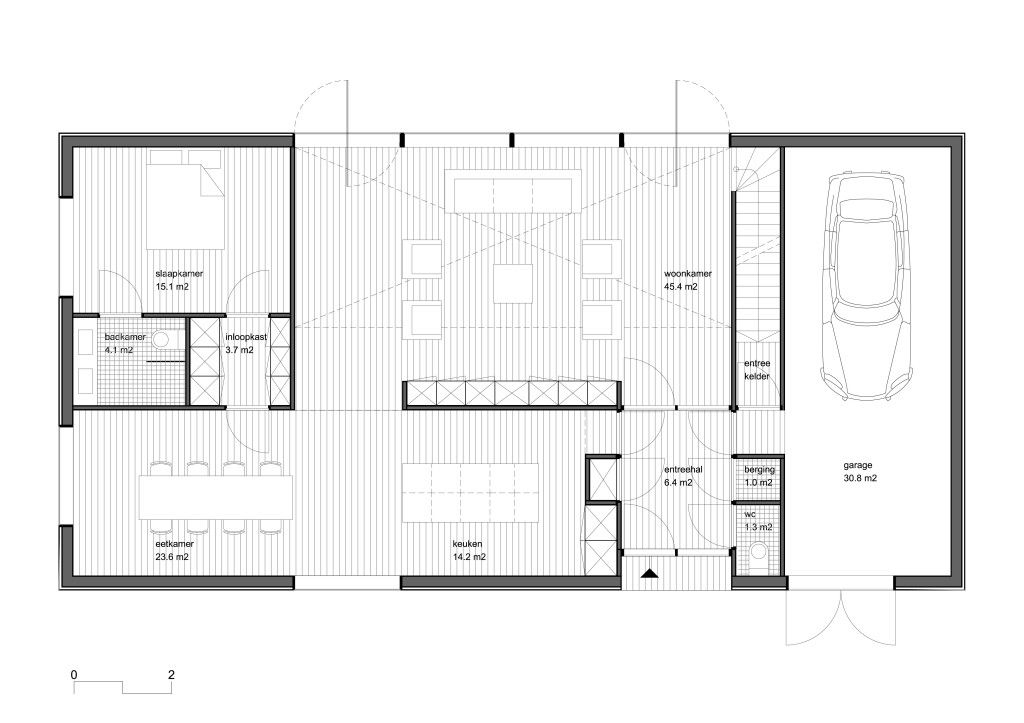 Plattegrond met slaapkamer begane grond. - ontwerp huis | Pinterest ...