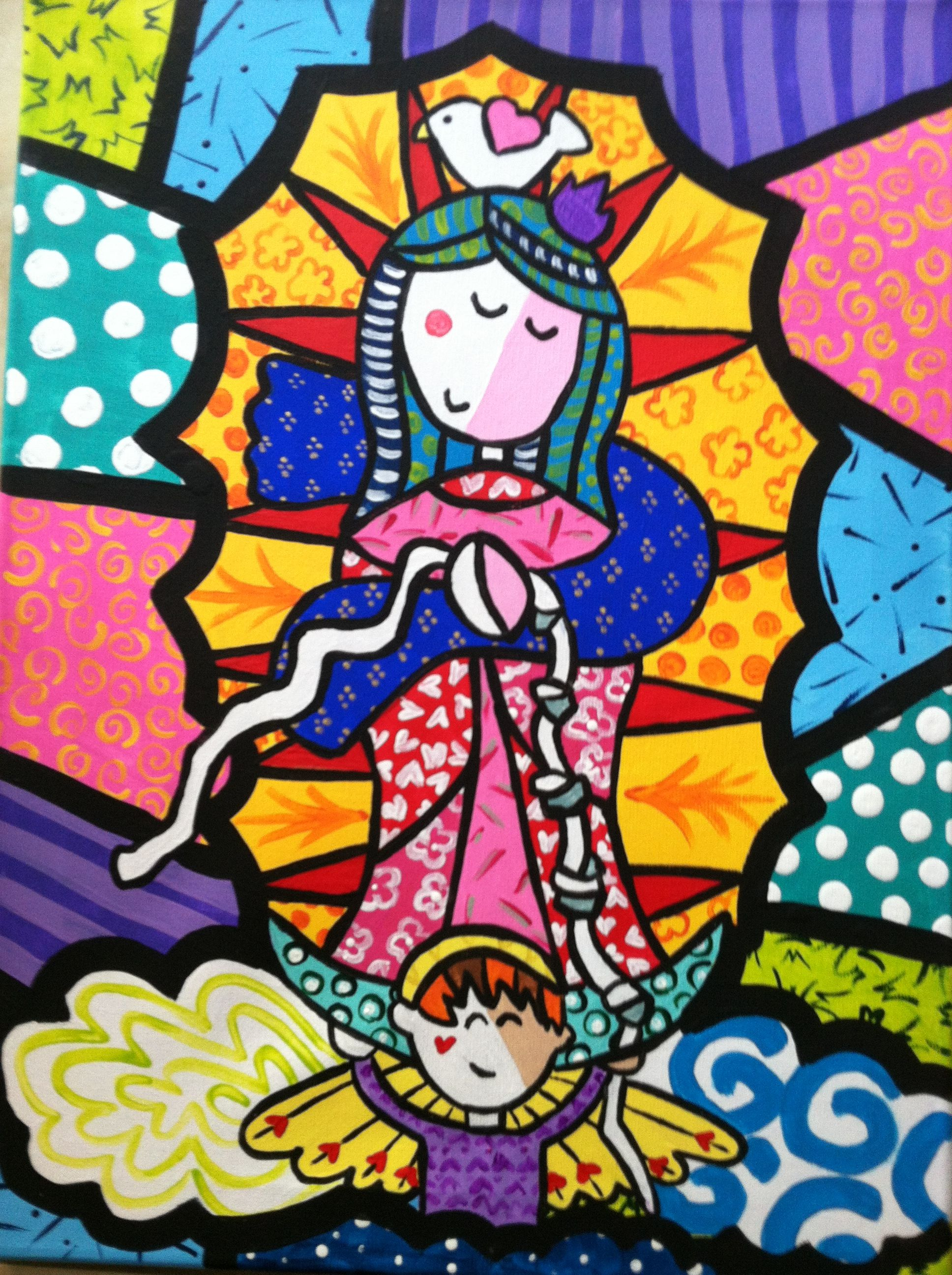 My painting of Mary Undoer of Knots beloved by Pope Francis in the Britto style Artist: Courtney