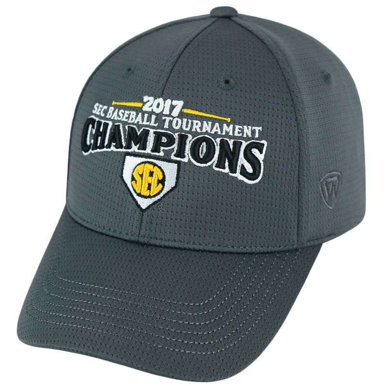 differently bffc6 0dd88 LSU Tigers Top of the World 2017 SEC Baseball Tournament Champions  Adjustable Hat - Charcoal Baseball
