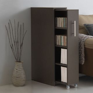 Baxton Studio Lindo Dark Brown Wood Bookcase with One Pulled-out Door Shelving Cabinet