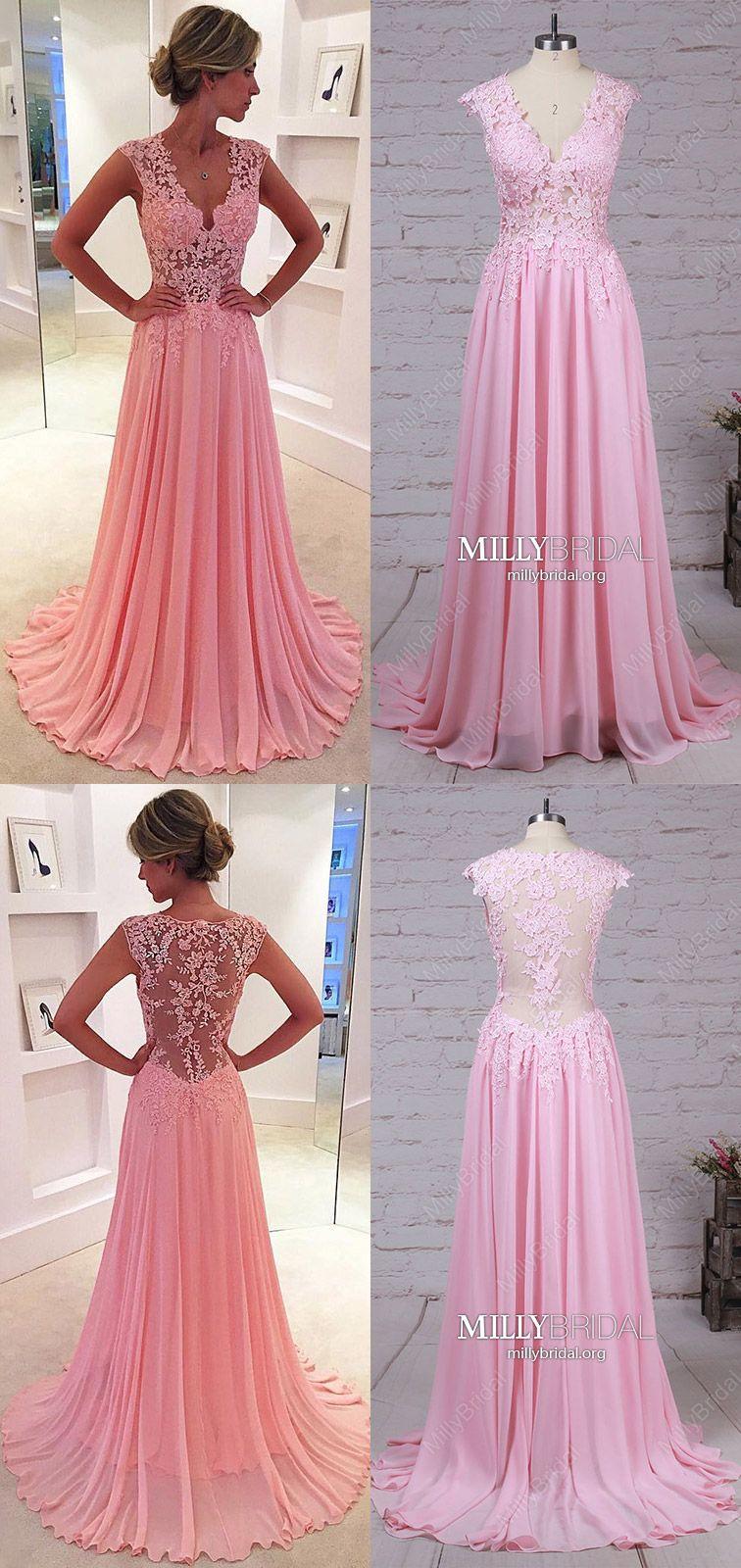 Pink prom dresses modestlong formal evening dressesvneck military