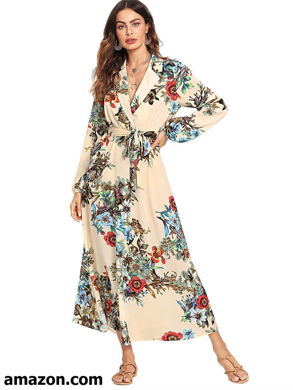 9172e3dc07 Milumia Women s Bishop Sleeve Surplice Wrap Self Tie Floral Print Maxi Dress