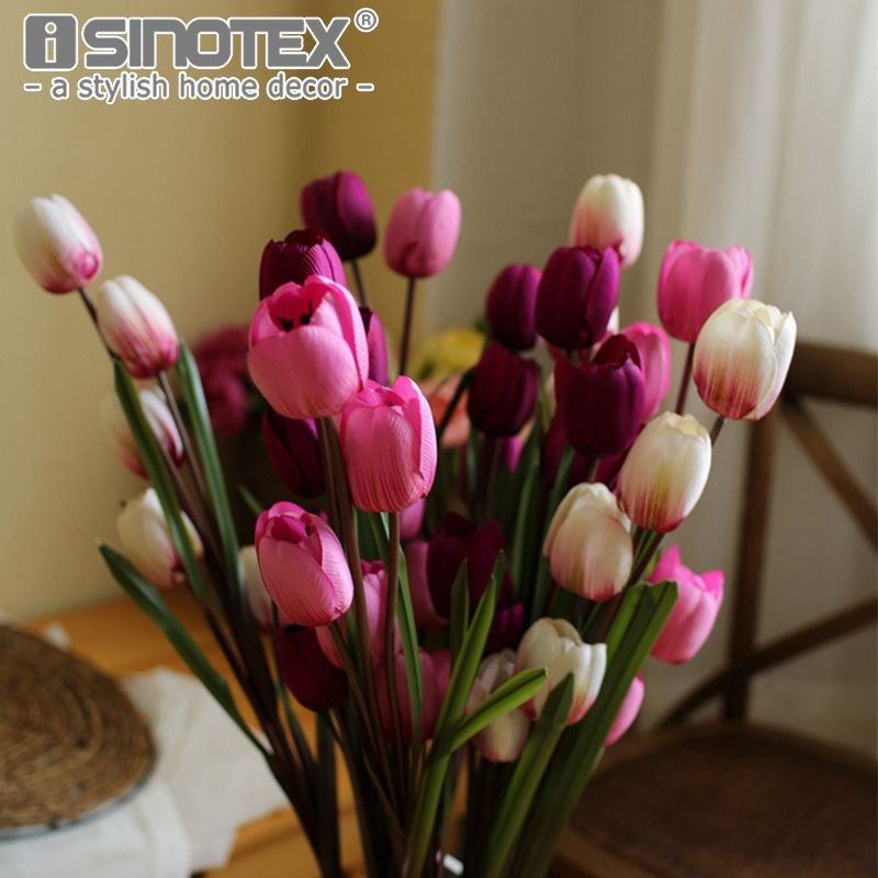Single Branch 5 Heads Tulip Artificial Floral Silk Flowers Home Decor  Ornaments Flower For Christmas Decoration