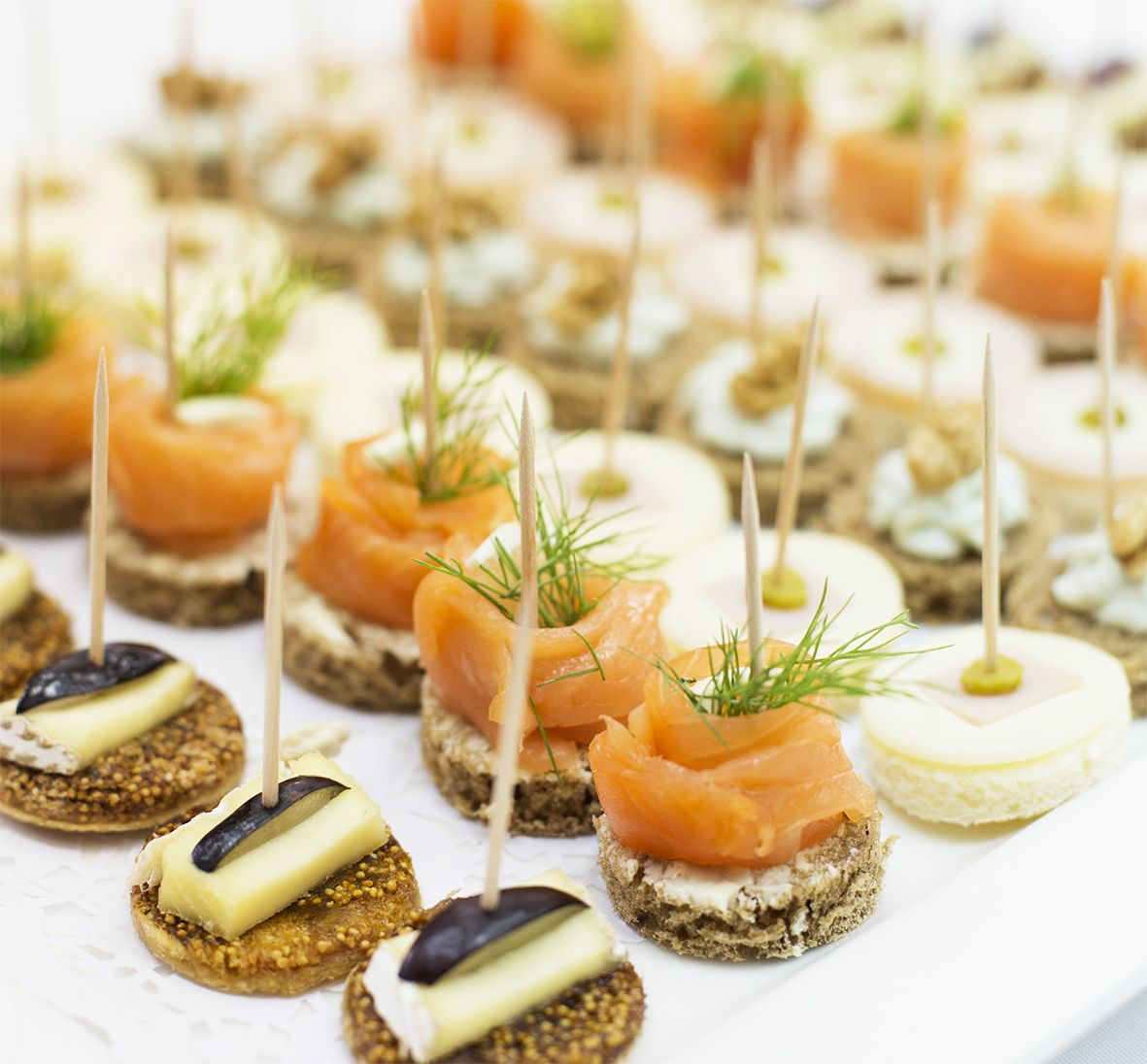 #Canapé: -#Salmon – #Brie with figs – #Turkey & #Cheese. #food #kitchen #catering