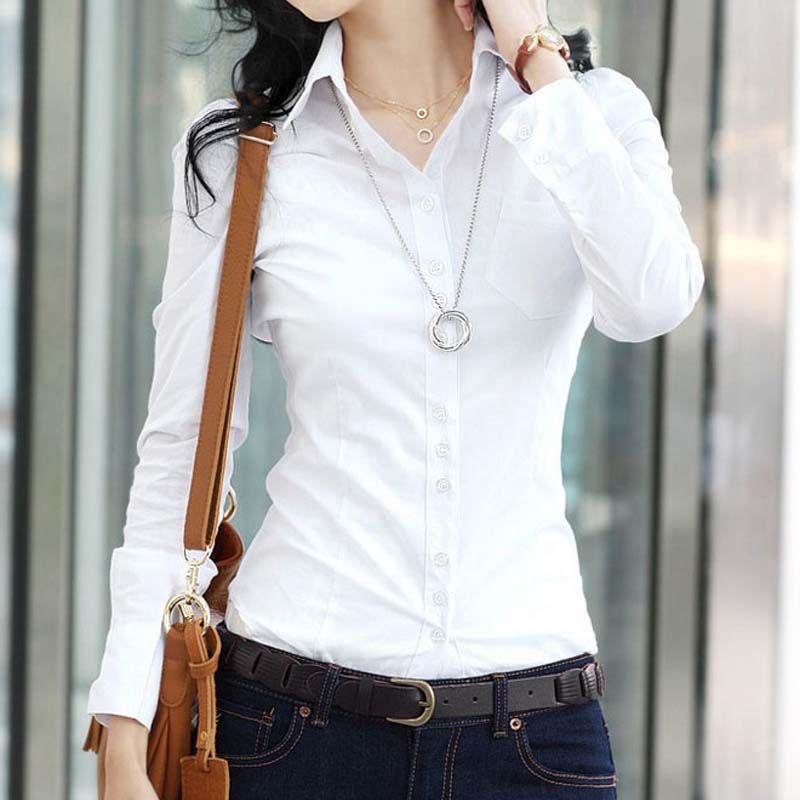 50c9b8d735a18 Cheap Nuevas mujeres blusa delgado de la blusa ol blusa de manga larga mujeres  blusa blanca mujer camisa blanca primavera y otoño