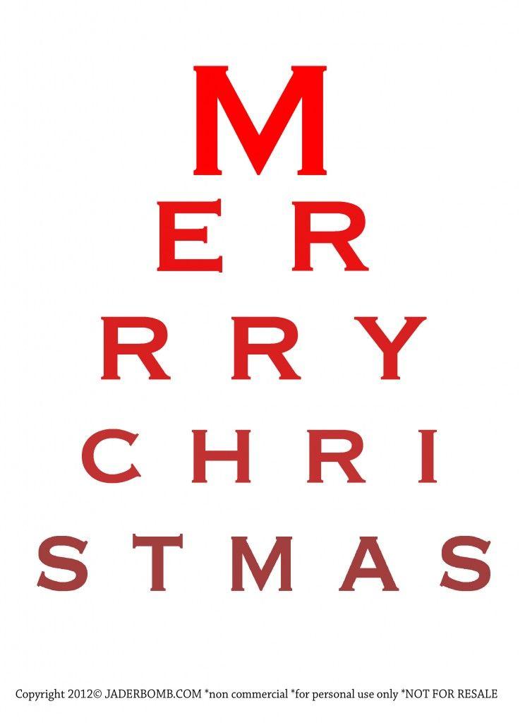 Merry Christmas Eye Chart  Free Printable  I Heart Free