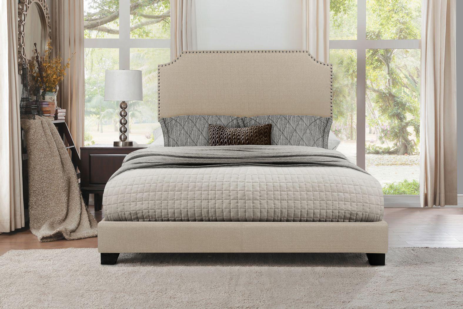 Carshalton Beige Queen Upholstered Bed Upholstered Beds Bed