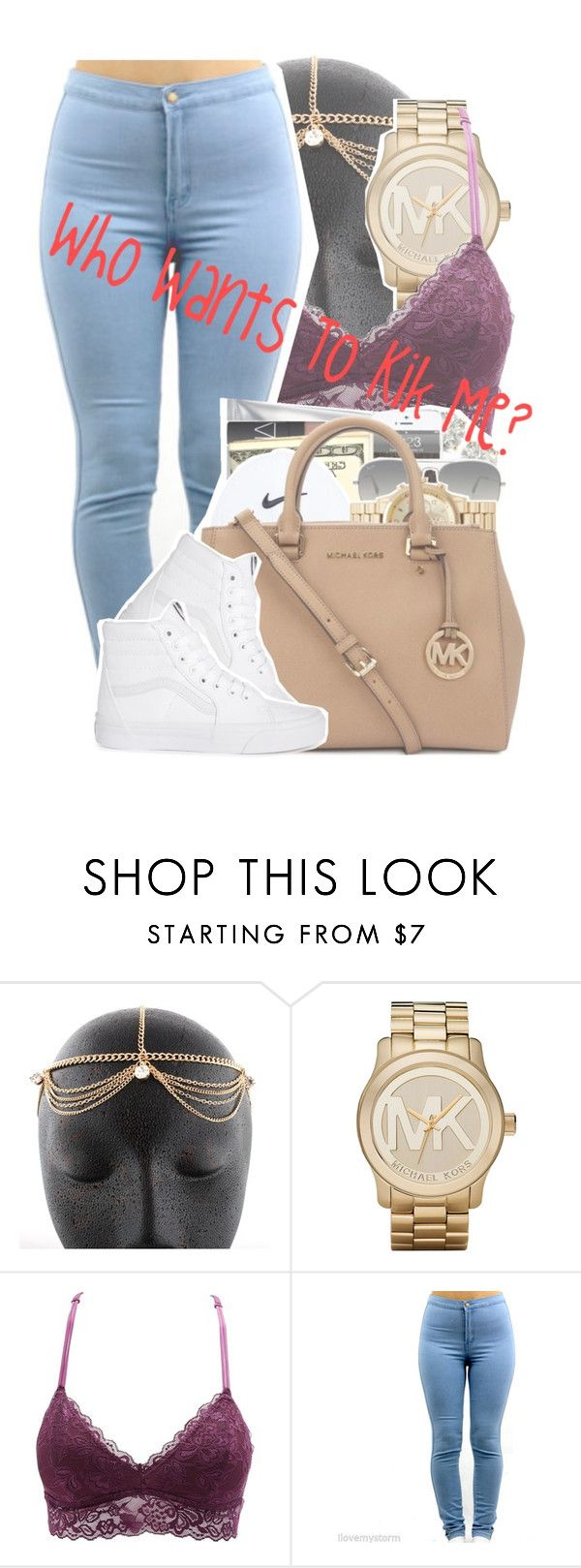 """""""Who wants to kik;; message me!"""" by sage-forever ❤ liked on Polyvore featuring Michael Kors, Charlotte Russe, Ray-Ban, Vans, kik and kikmessenger"""