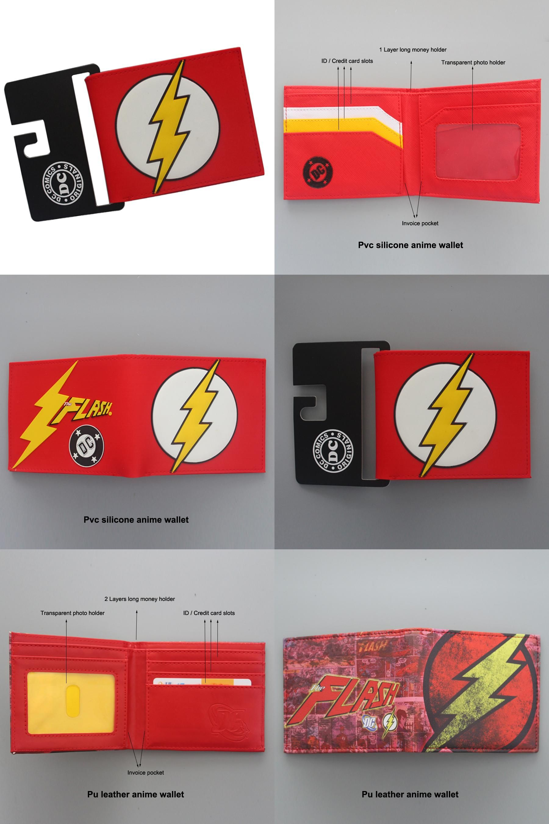 DC Comics The Flash Short Wallets With Card Holder Photo Holder Purse men