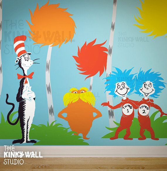 Children Wall Decals Wall Sticker   The Lorax Character Wall Decal Choose 1    Dr Seuss   Fox In Sox   Cat In The Hat   Thing 1 Thing 2 Part 33