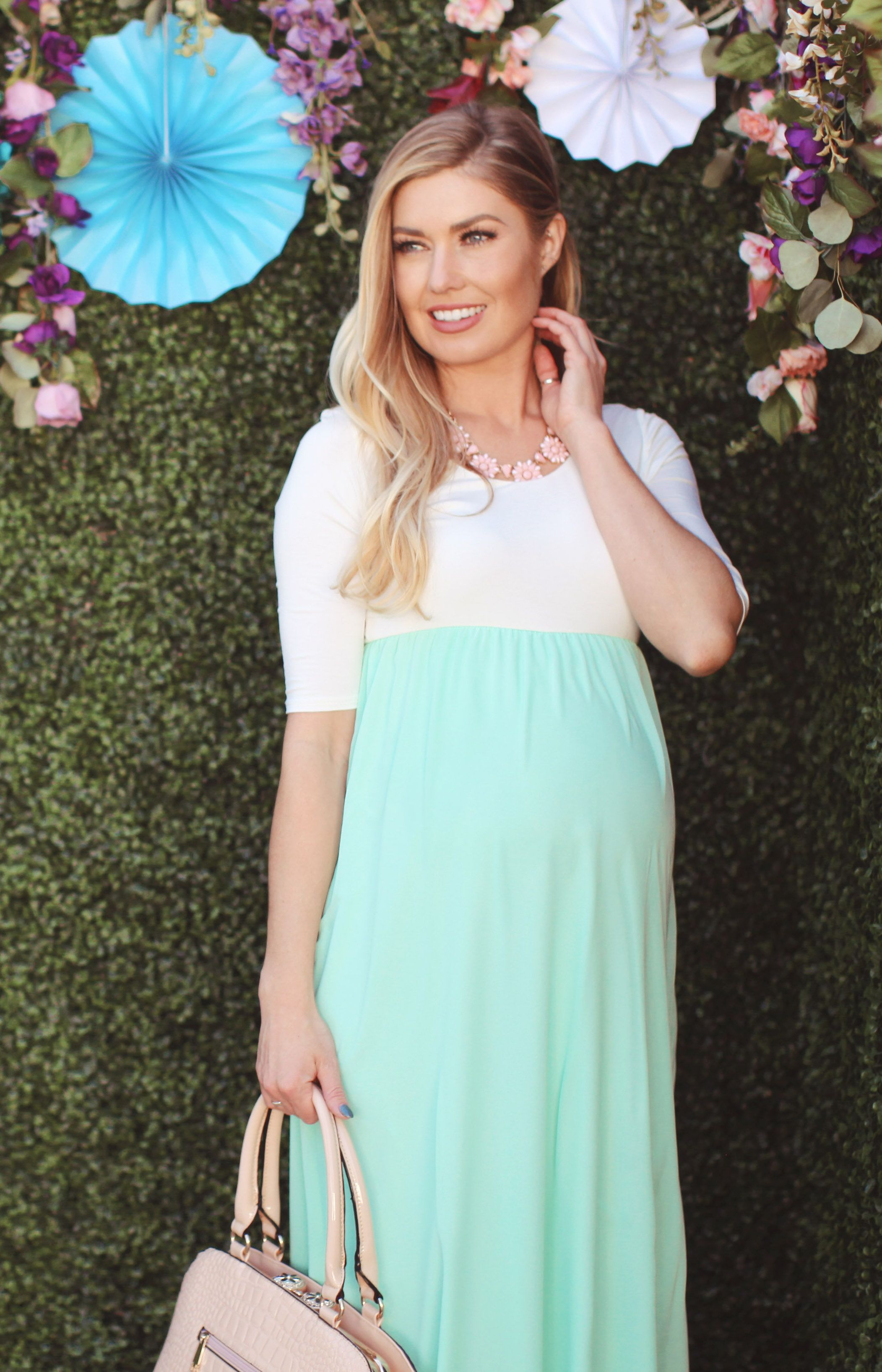 Mint and White Maternity Maxi Dresses
