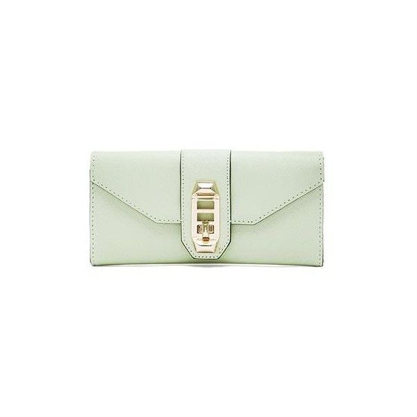 Rebecca Minkoff Mason Wallet Bags ($95) ❤ liked on Polyvore featuring bags, wallets, clutches, handbags, rebecca minkoff bags, green wallet, leather flap bag, leather bags and genuine leather bag