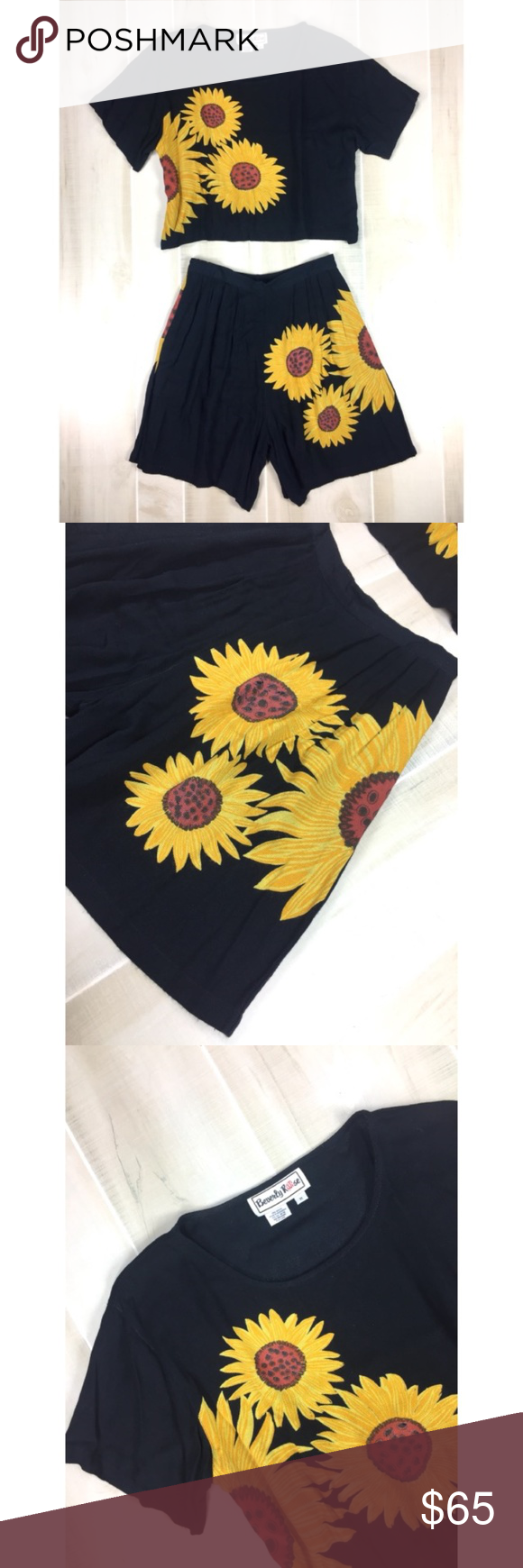 Vintage sunflower piece outfit size m topshorts high waisted