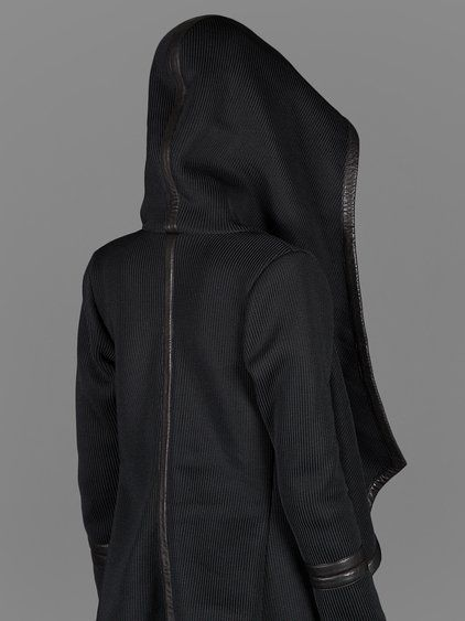 SKINGRAFT DOUBLE KNIT ROYAL OVERSIZED HOODIE WITH LEATHER TRIM