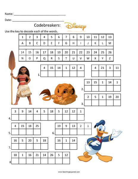 Codebreakers Disney Top Fun Activity Disney Printables Learning Worksheets Preschool Worksheets Code breaking worksheets
