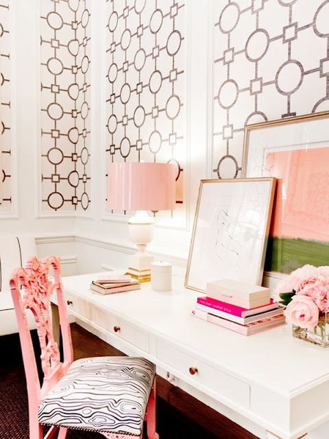 white and pink office inspirations on the Office Luxe Blog officeluxeblog.com