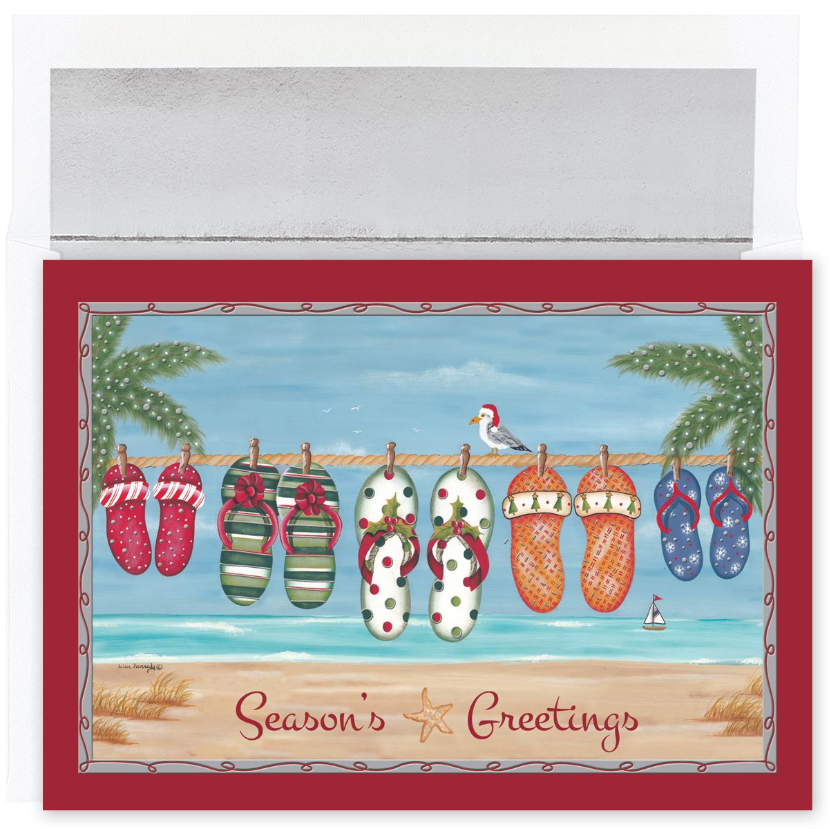 Holiday Flip Flops Tropical Christmas Cards Christmas