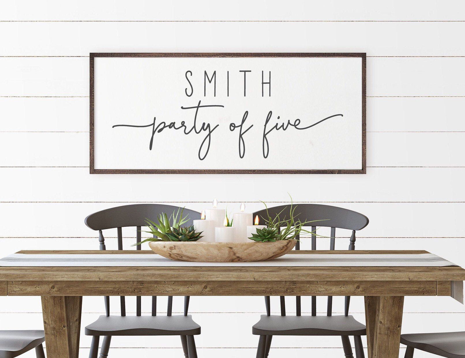 Last Name Personalized Wood Sign Party Of 3 4 5 6 7 8 Entry Etsy In 2021 Dining Room Wall Art Dining Room Wall Decor Dining Wall Decor