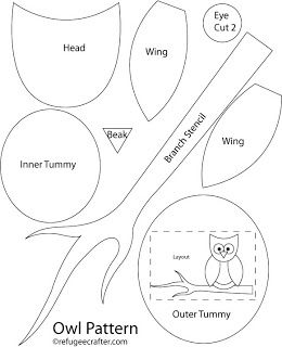 Free Printable owl sewing patterns  The pupils and leaves on the