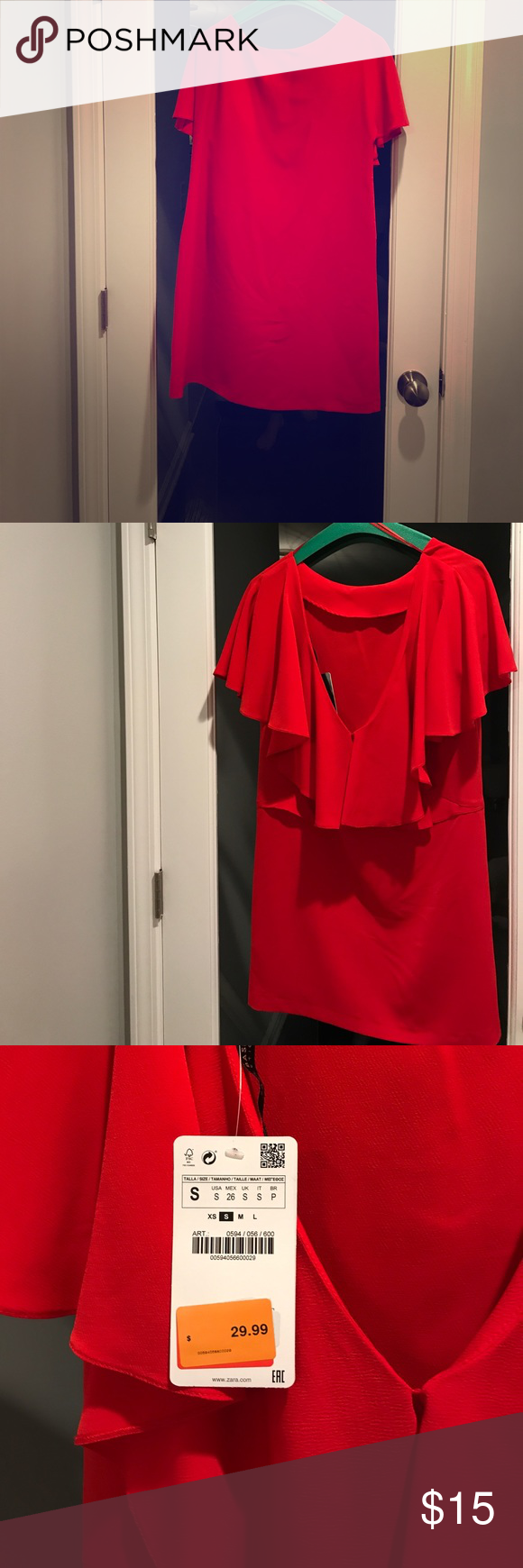 ede54f2c8bc Zara red open back dress NWT