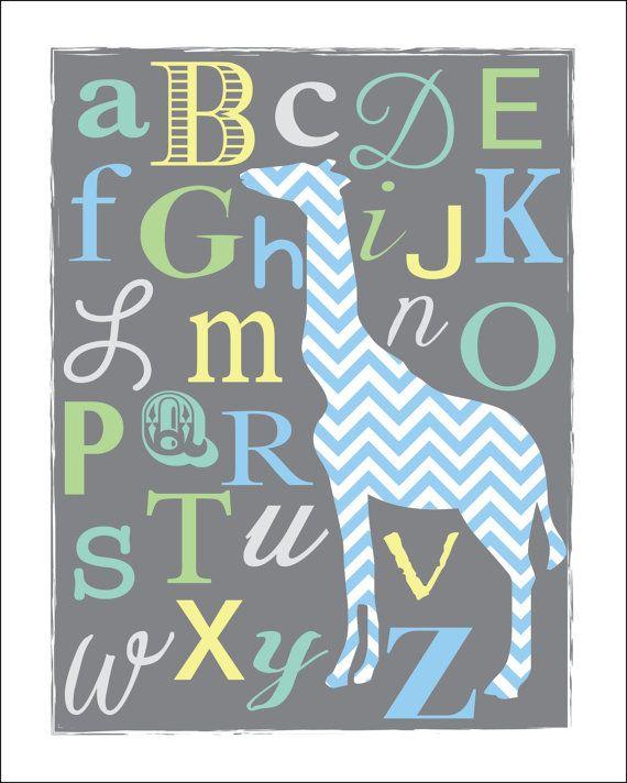 Chevron ABC's Giraffe Nursery Print in GrayBoy by RubyandHazel, $17.00