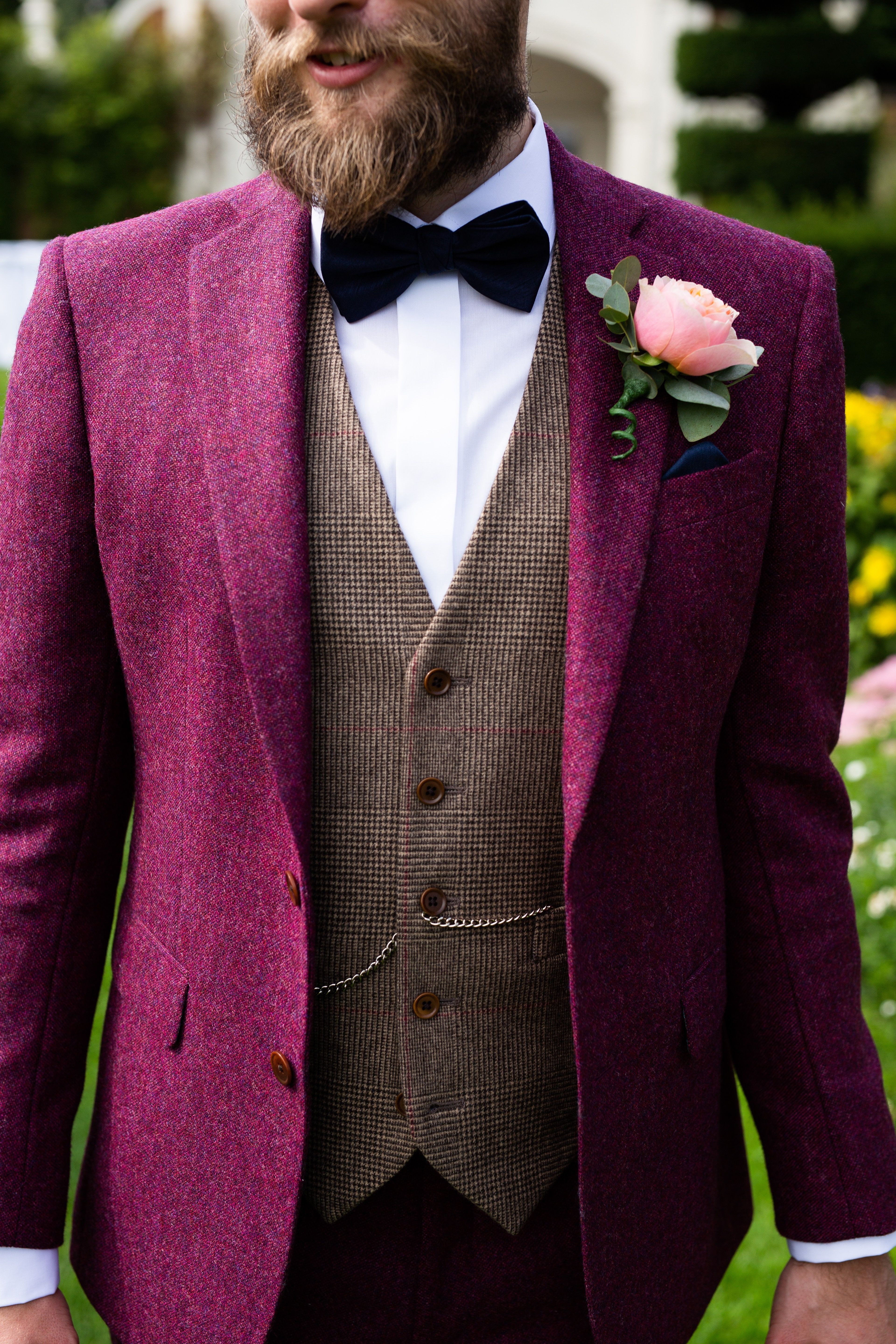 Tailored Donegal Tweed Suit. Stunning burgundy suit teamed