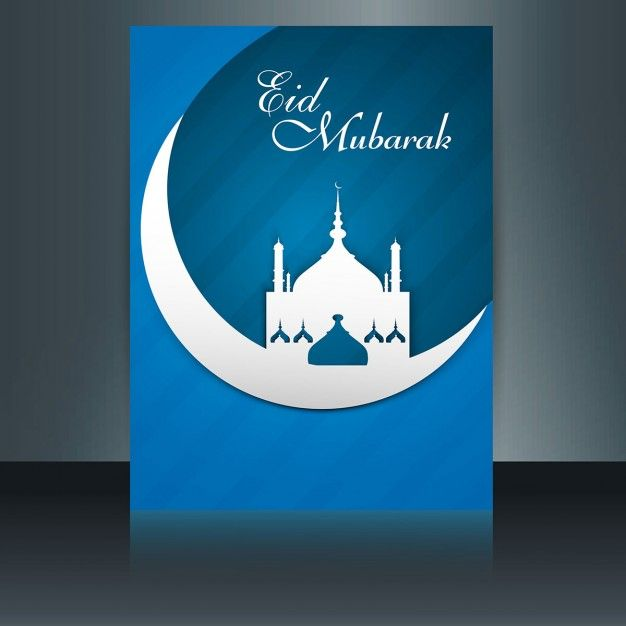 Blue Color Eid Mubarak Flyer With A Mosque With Images Eid