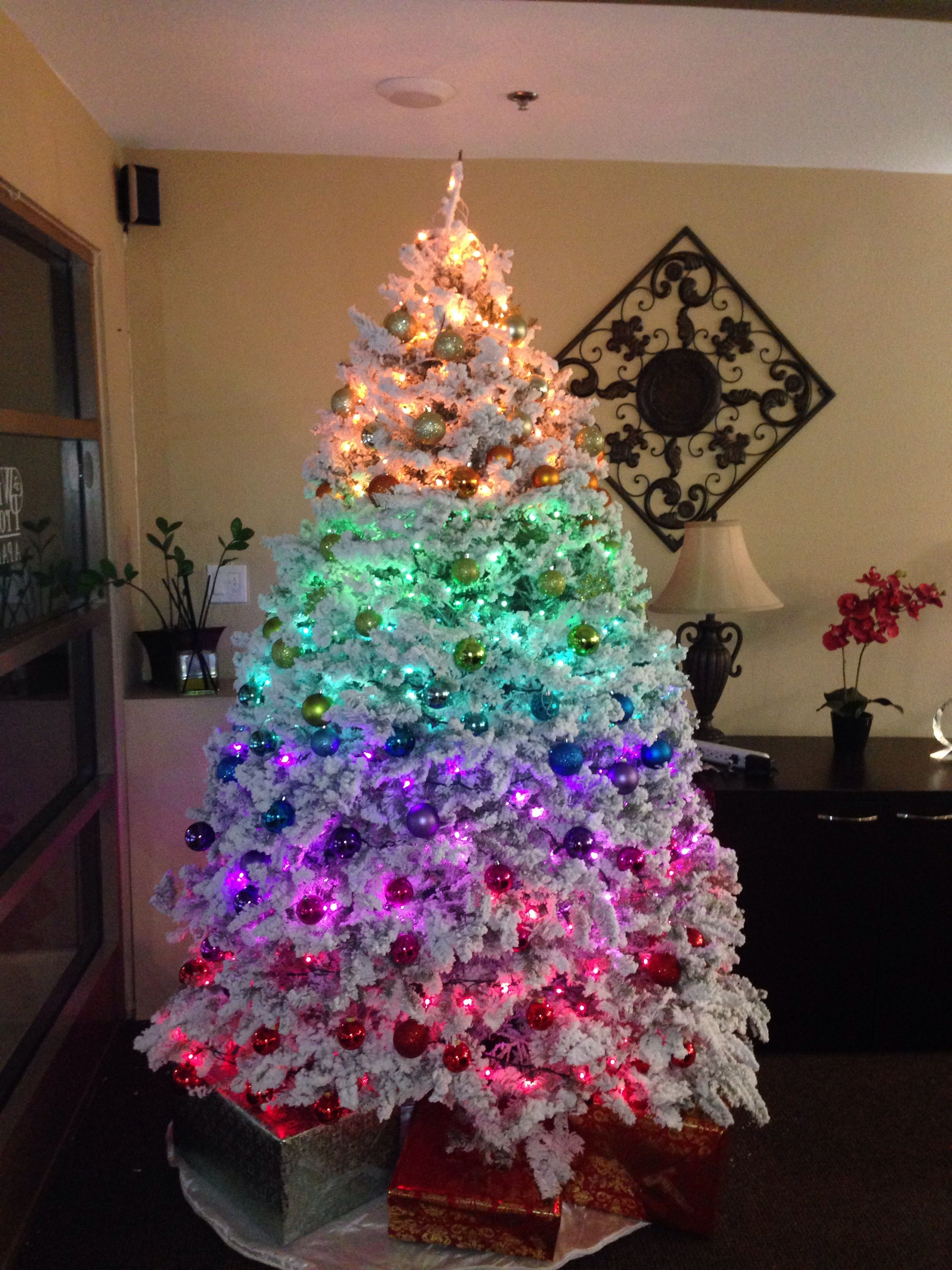 Rainbow Christmas Tree Using All Colors From The Past Three Years So Easy Rainbows Christmas Rainbow Christmas Tree Christmas Tree