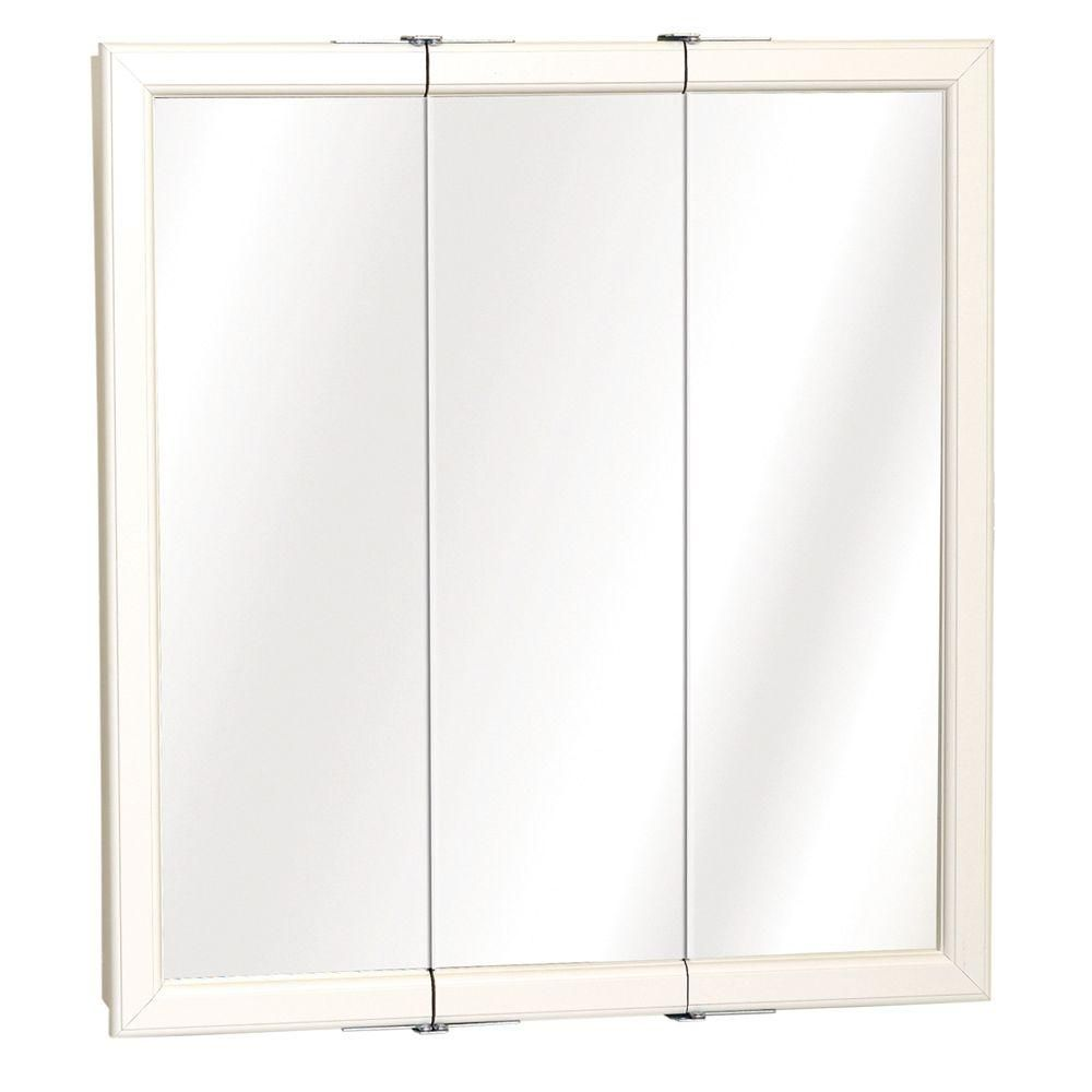 24 In X 26 In Surface Mount Tri View Mirrored Medicine Cabinet