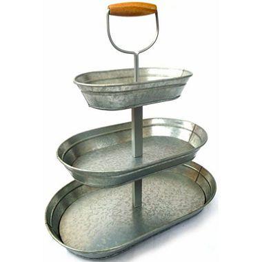Square 2 Tier Galvanized Metal Tray Stand Galvanized Metal Trays Galvanized Metal Industrial Farmhouse Decor