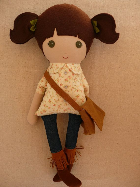 Reserved for Kory Fabric Doll Rag Doll Brown Haired Girl in