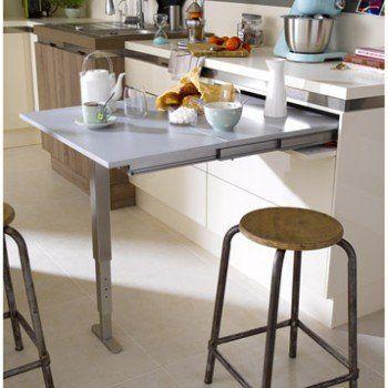 Table Retractable Stratifie Aluminium Mat L 95 X P 75 Cm Ep 140