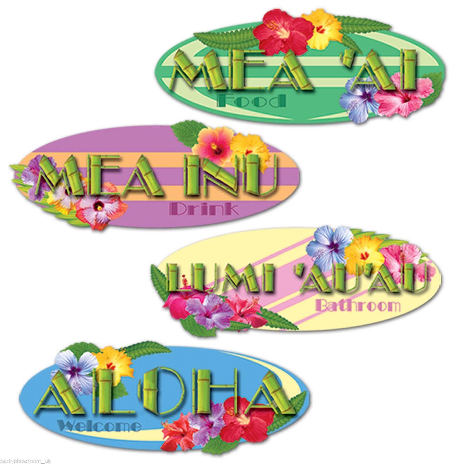 4 tropical hawaiian luau bbq party welcome bathroom signs cutouts rh pinterest com