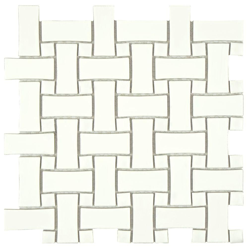 Merola Tile Metro Basket Weave White 10 1 2 In X 10 1 2