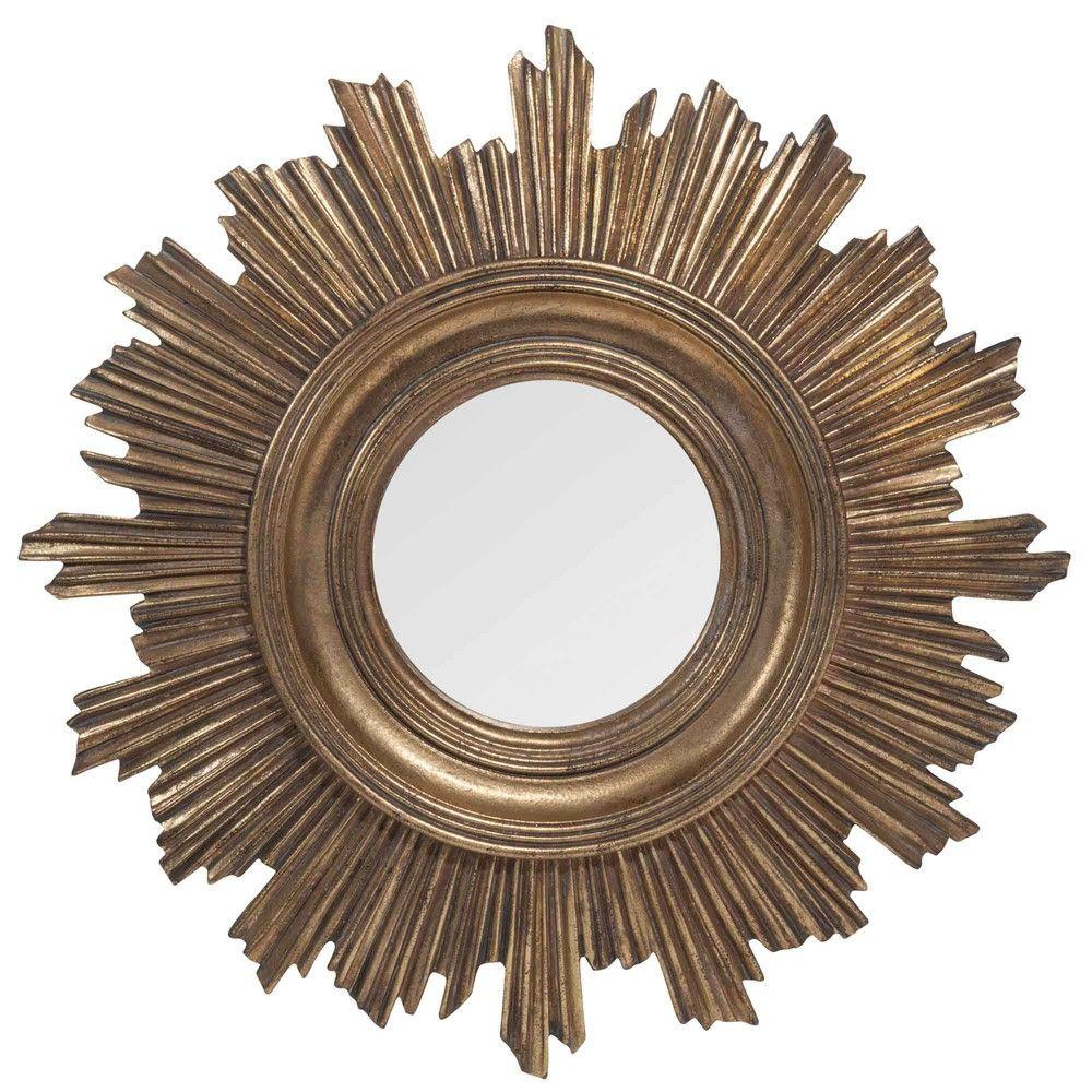 BURTON golden round mirror 44 cm Maisons du Monde