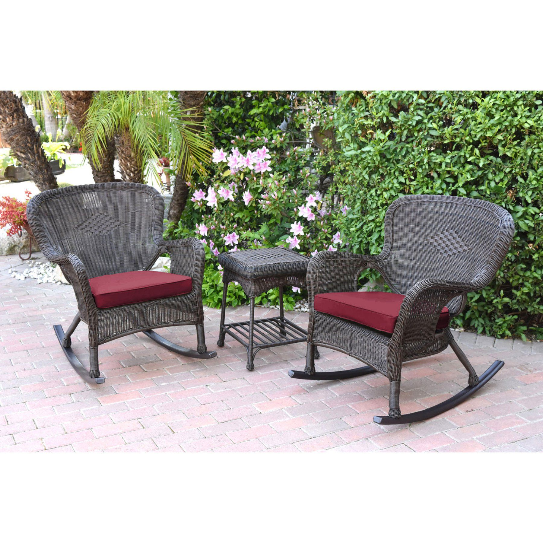 Outdoor Jeco Windsor Resin Wicker 3 Piece Patio Rocker Conversation