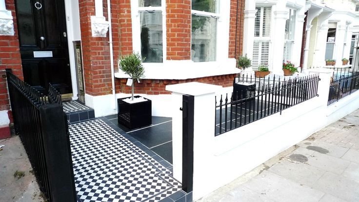 exterior black and white mosaic tiles Google Search Front Door