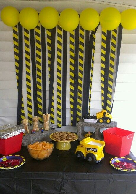 Huxleys Second Birthday Construction Theme Food Table And Backdrop Such A Fun Party To Plan