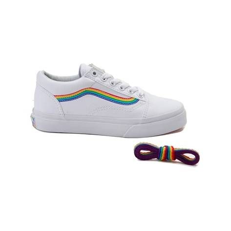 20f2d554cd6 Youth Vans Old Skool Rainbow Skate Shoe - white - 1498266