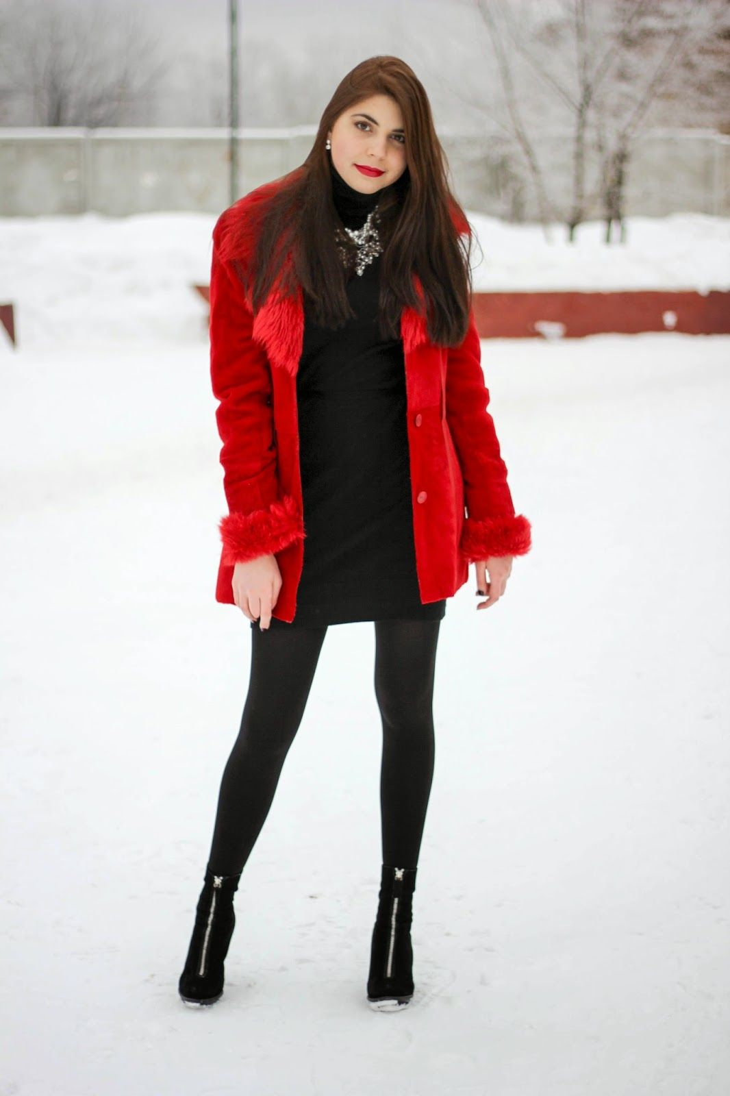 Women's Red Coat, Black Sweater Dress, Black Suede Ankle Boots ...