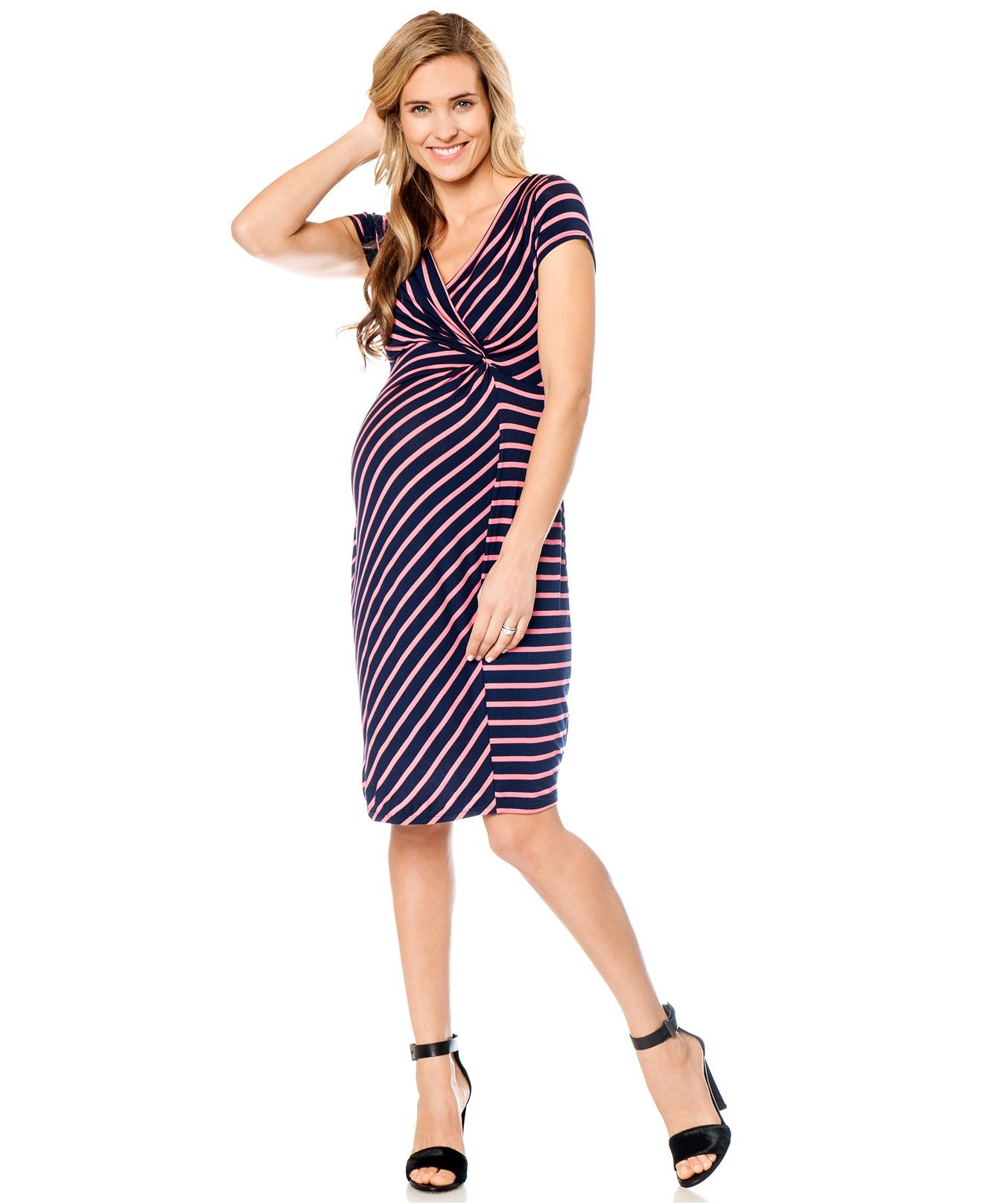 fbc32ebf029fb Motherhood Maternity Striped Faux-Wrap Dress - Shop All Maternity - Women -  Macy s