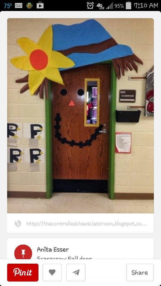 Scarecrow Door Decoration Classroom ~ Scarecrow door elementary classroom decoration