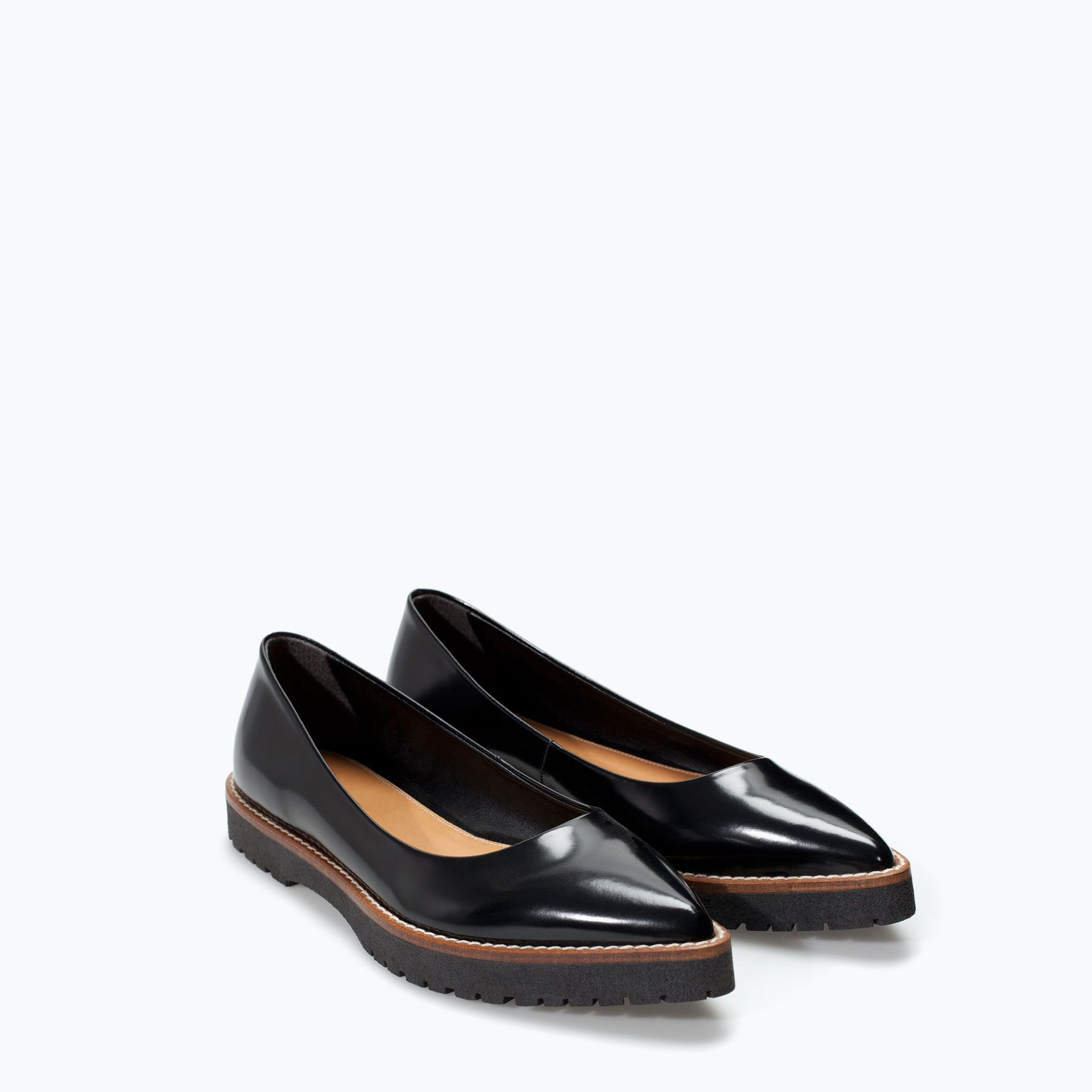 {TRACK SOLE BALLET FLAT from Zara in black - under $75}