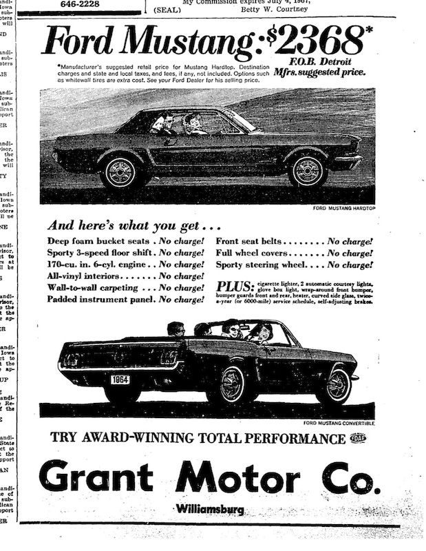 1964 ford mustang newspaper ad