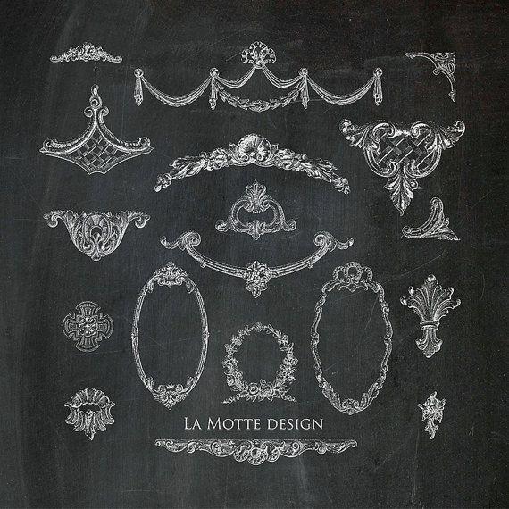 Digital flourish chalk clipart vintage decorative clip art ...