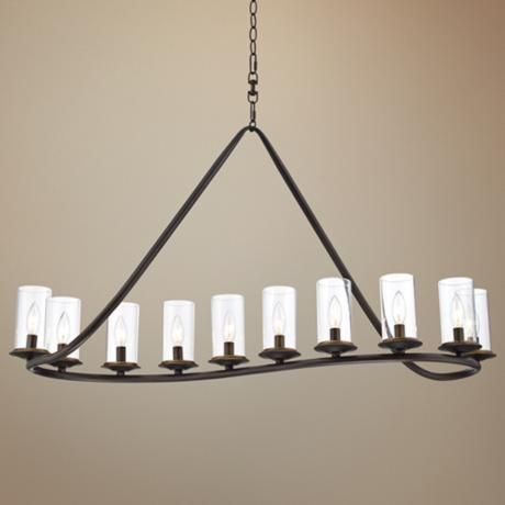 Heritage 44 wide bronze and glass chandelier for Long dining table lighting