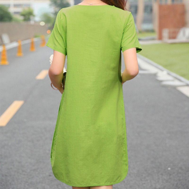 6693a4c9962a 2017 Summer Women Patchwork Cotton Linen Dresses Short Sleeve Loose Knee-Length  Vintage Female Dress